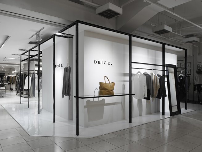 Beige pop up store nendo for Minimalist architecture theory